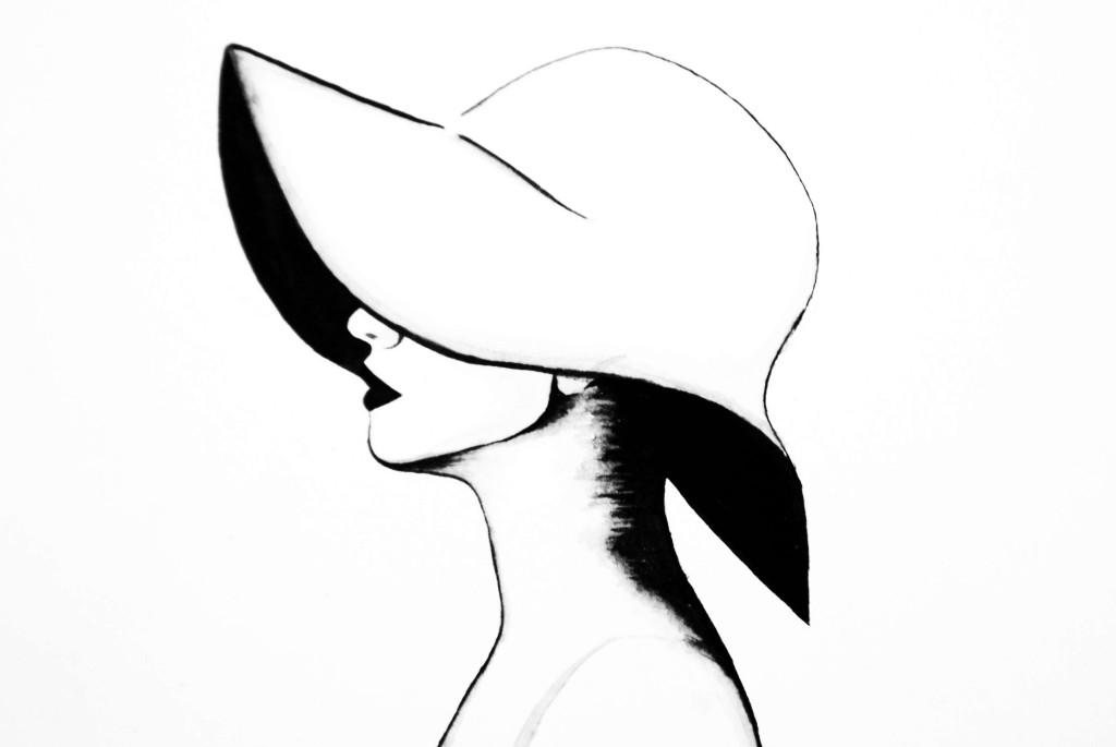 Рисунок девушки в шляпе