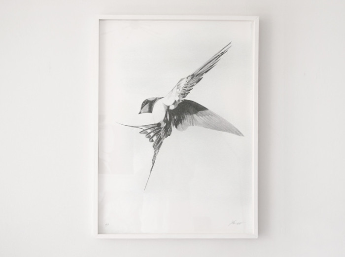 Flight 06 Silver Screen Print in frame